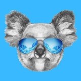 Portrait of Koala with Mirror Sunglasses. Hand Drawn Illustration. Láminas por  victoria_novak