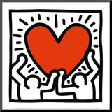 Sans titre, vers 1988 Affiche montée sur bois par Keith Haring