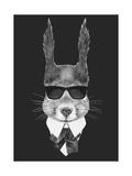 Portrait of Squirrel in Suit. Hand Drawn Illustration. Lámina giclée prémium por  victoria_novak