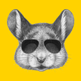Portrait of Mouse with Sunglasses. Hand Drawn Illustration. Láminas por  victoria_novak