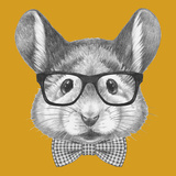 Portrait of Mouse with Glasses and Bow Tie. Hand Drawn Illustration. Arte por  victoria_novak