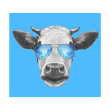 Portrait of Cow. Hand Drawn Illustration. Kunst af  victoria_novak