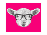 Portrait of Lamb with Glasses. Hand Drawn Illustration. Poster par  victoria_novak
