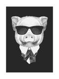 Portrait of Piggy in Suit. Hand Drawn Illustration. Kunst af  victoria_novak