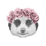 Portrait of Mongoose with Floral Head Wreath . Hand Drawn Illustration. Pósters por  victoria_novak