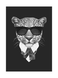 Portrait of Leopard in Suit. Hand Drawn Illustration. Giclée-Premiumdruck von  victoria_novak