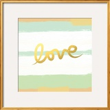 Love Stripes Mint and Gold Prints by Linda Woods