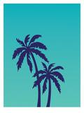 Palm Tree on Teal Giclee Print by Ashlee Rae