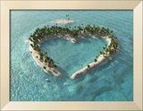 Aerial View Of Heart-Shaped Tropical Island Posters by  Mike_Kiev