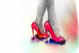 Background with Shoes Fotografie-Druck von Anna Ismagilova