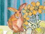 Floppy Bunny - Yellow Flowers Affiche par Robbin Rawlings