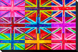 Union Jacks Stretched Canvas Print by Howie Green