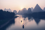 China 10MKm2 Collection - Beautiful Scenery of Yangshuo with Karst Mountains at Pastel Sunrise Metal Print by Philippe Hugonnard