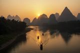 China 10MKm2 Collection - Beautiful Scenery of Yangshuo with Karst Mountains at Sunrise Metalldrucke von Philippe Hugonnard