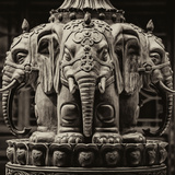 China 10MKm2 Collection - Detail Buddhist Temple - Elephant Statue Fotografie-Druck von Philippe Hugonnard