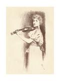 A Violinist, C1898 Giclee Print by Fernand Khnopff