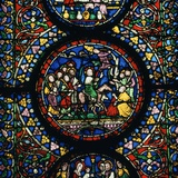 Stained Glass Depiction of Christs Entry to Jerusalem, 12th Century Reproduction photographique par CM Dixon