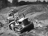 Tractor Unit Pulling an Earth Grading Machine at a Site Near Rotherham, South Yorkshire, 1954 Photographic Print by Michael Walters