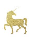 Gold Glitter Unicorn Posters por  Peach & Gold