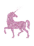 Pink Glitter Unicorn Posters by  Peach & Gold