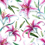 Tropical Watercolor Lilly Pattern Metal Print by  Zenina