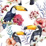 Tropics, Pattern, Toucan Metal Print by  Zenina