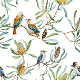 Australian Kookaburra Bird Pattern Metal Print by  Zenina