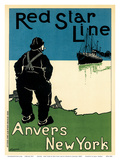 Anvers - New York by Red Star Line Navigation Company Posters by Henrick Cassiers