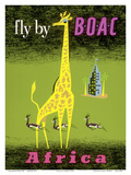 Africa - African Giraffe and Gazelles - Fly by BOAC Posters af  Laban