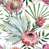 Tropical Protea Pattern Metal Print by  Zenina
