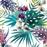 Pattern Orchid Hibiscus Leaves Watercolor Tropics Print by  Zenina
