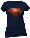 Women's: Man Of Steel- Textured Logo T-Shirts