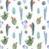 Watercolor Cactus Pattern Metal Print by  Zenina