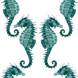 Watercolor Seahorse Pattern Metal Print by  Zenina