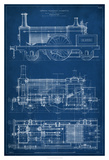 Locomotive Blueprint I Giclee Print by Vision Studio
