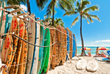 Surfboards in the Rack at Waikiki Beach - Honolulu Stretched Canvas Print by  eddygaleotti