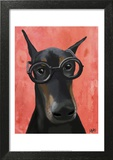 Doberman With Glasses Print by  Fab Funky