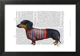 Dachshund With Woolly Sweater Prints by  Fab Funky