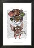 Pig And Balloons Poster by  Fab Funky