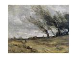 The Gust of Wind, 1870 Reproduction procédé giclée par Jean-Baptiste-Camille Corot