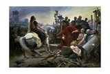 Gallic Chief Vercingetorix Throws His Sword at Feet of Julius Caesar, 46 BC Giclée-tryk af Lionel Noel Royer