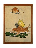 Playful English Illustration of Cats and Duck by Cecil Aldin, Ca. 1910. Giclée-Druck von Cecil Aldin