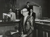 Gangster Santo Trafficante Sitting on a Stool in His Sans Souci Night Club in Havana, Cuba Photographie