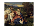 Madonna and Child with St. Catherine, (The Virgin with the Rabbit) Giclée-tryk af  Titian (Tiziano Vecelli)