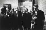 President Bill Clinton Plays the Saxophone Presented to Him by Russian President Boris Yeltsin Photo