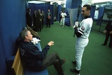 President George W. Bush Derek Jeter before the First Pitch in Game 3 of the World Series Foto
