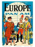 Europe - Pan American Airways (PAA) - British Yeomen of the Guard, Pontifical Swiss Guard Poster di  Pacifica Island Art