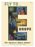 Fly to Europe - The System Of The Flying Clippers - Pan American World Airways Prints by Jean Carlu