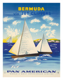 Bermuda via Jet Clippers - Fly Pan American Airlines (PAA) - Sailboats in Somers Isles Giclee Print by Fred Ludekens