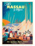 Fly to Nassau by Clipper - New Providence Island, The Bahamas - Pan American World Airways (PAA) Kunstdrucke von M. Von Arenburg
